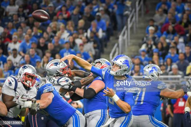 Detroit Lions quarterback Matthew Stafford throws downfield during the Detroit Lions game versus the New England Patriots on Sunday September 23 2018...