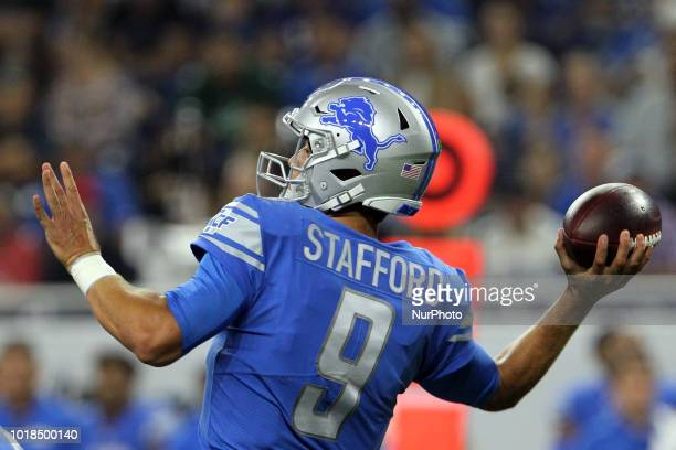 Detroit Lions quarterback Matthew Stafford throws the ball during the first half of an NFL football game against the New York Giants in Detroit...