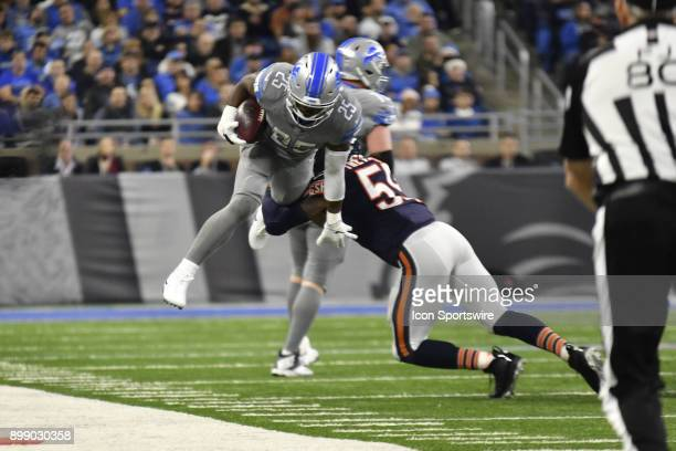 Detroit Lions RB Theo Riddick gets tackled near the sideline by Chicago Bears ILB Danny Trevathan in the NFL game between Chicago Bears and Detroit...