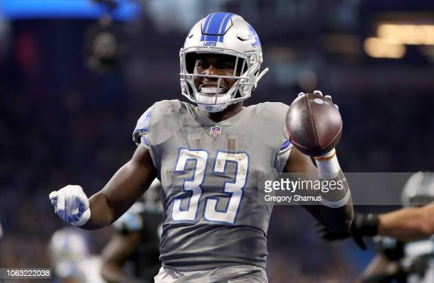 Detroit Lions running back Kerryon Johnson celebrates his touchdown against the Carolina Panthers during the first quarter at Ford Field on November...