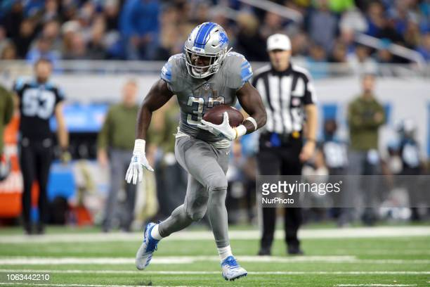 Detroit Lions running back Kerryon Johnson runs the ball against Carolina Panthers during the second half of an NFL football game in Detroit Michigan...