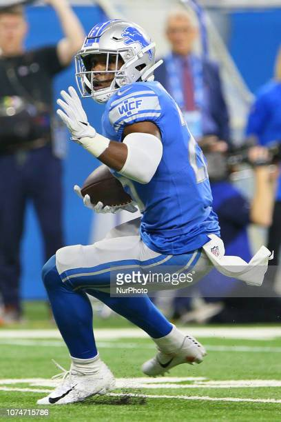Detroit Lions running back Theo Riddick carries the ball for yardage during the first half of an NFL football game against the Minnesota Vikings in...