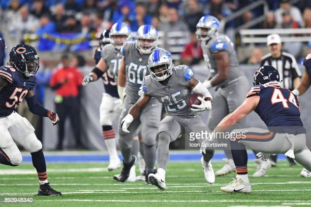 Detroit Lions running back Theo Riddick runs the ball during a game between the Chicago Bears and the Detroit Lions on December 16 at Ford Field in...