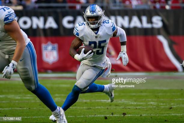 Detroit Lions running back Theo Riddick runs the ball during the NFL football game between the Detroit Lions and the Arizona Cardinals on December 9...