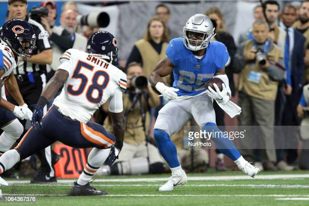Detroit Lions running back Theo Riddick runs the ball during the first half of an NFL football game against the Chicago Bears in Detroit Michigan USA...