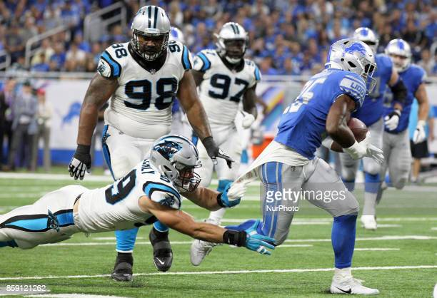 Detroit Lions running back Theo Riddick runs the ball during the second half of an NFL football game against the Carolina Panthers in Detroit...