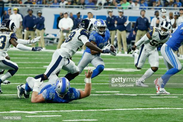 Detroit Lions running back Theo Riddick runs with the ball during a regular season game between the Los Angeles Rams and the Detroit Lions on...