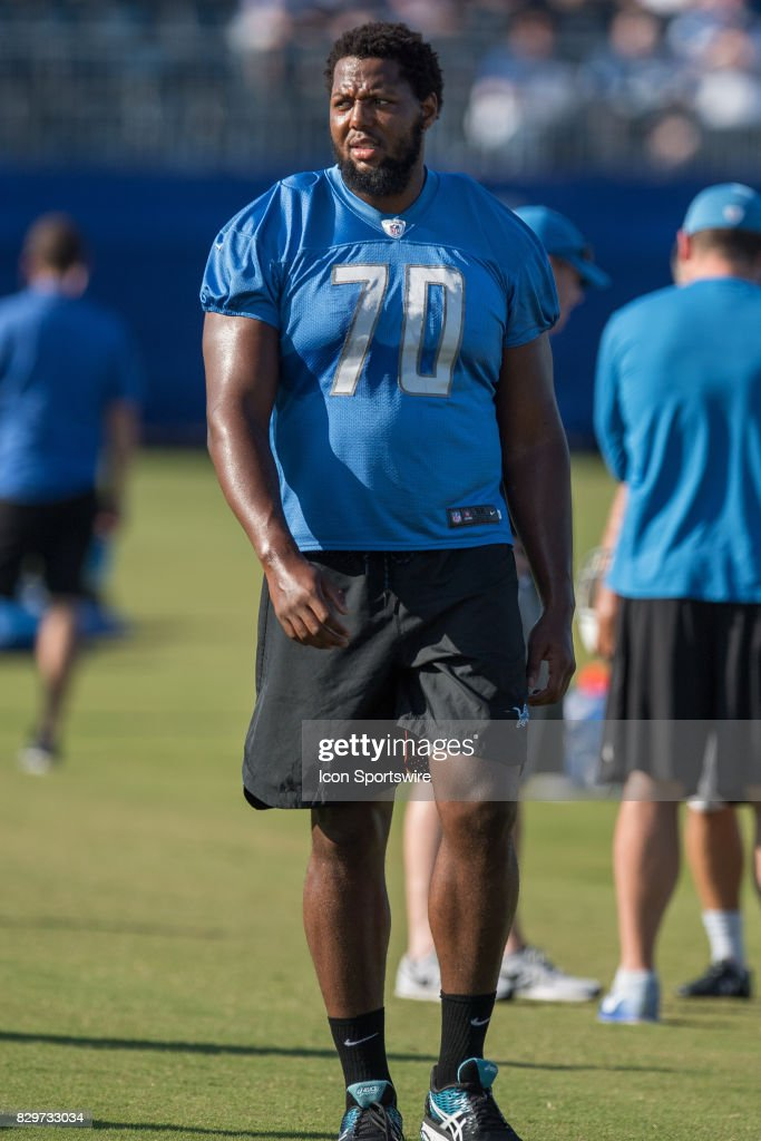 Detroit Lions tackle Corey Robinson (70) on the sidelines before the Indianapolis Colts and Detroit Lions joint training camp practice on August 10, 2017 at Indiana Farm Bureau Football Center in Indianapolis, IN.