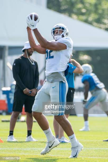 Detroit Lions TE Logan Thomas during NFL football practice on July 28, 2019 at Detroit Lions Training Facilities in Allen Park, MI