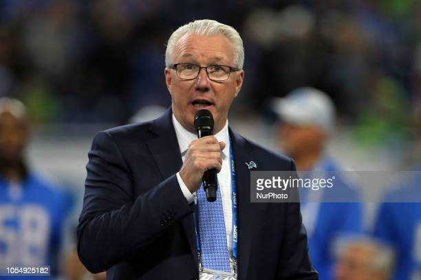 Detroit Lions team president Rod Wood speaks in honor of the induction of three former Detroit Lions players as Legends of the Pride of the Lions...