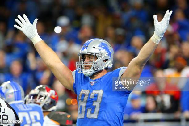 Detroit Lions tight end Jesse James celebrates after Detroit Lions running back Wes Hills runs the ball into the endzone during the second half of an...
