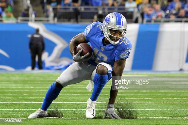 Detroit Lions wide receiver Bruce Ellington runs for yardage during the second half of an NFL football game against the Los Angeles Rams in Detroit...