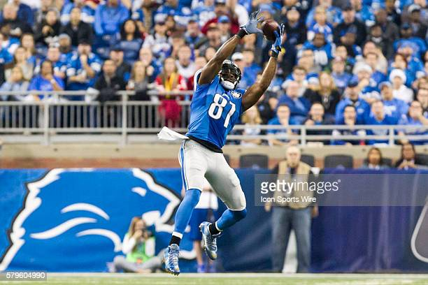 Detroit Lions wide receiver Calvin Johnson catches a pass during game action between the San Francisco 49ers and the Detroit Lions during a regular...