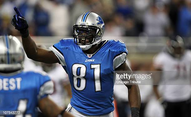Detroit Lions wide receiver Calvin Johnson celebrates a touchdown against the Chicago Bears in Detroit Michigan on Sunday December 5 2010 The Bears...
