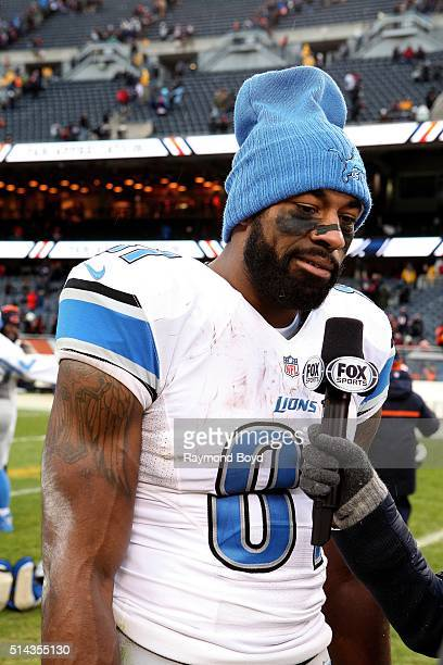 Detroit Lions wide receiver Calvin Johnson is interviewed after the Detroit Lions defeated the Chicago Bears at Soldier Field in Chicago Illinois on...
