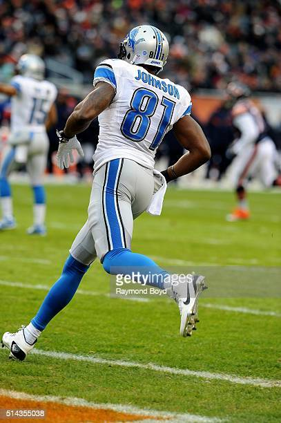 Detroit Lions wide receiver Calvin Johnson plays against the Chicago Bears at Soldier Field in Chicago Illinois on January 3 2016