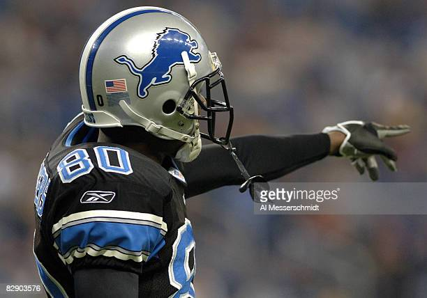 Detroit Lions wide receiver Charles Rogers points upfield during a Thanksgiving Day game November 24 at Ford Field Detroit The Atlanta Falcons...