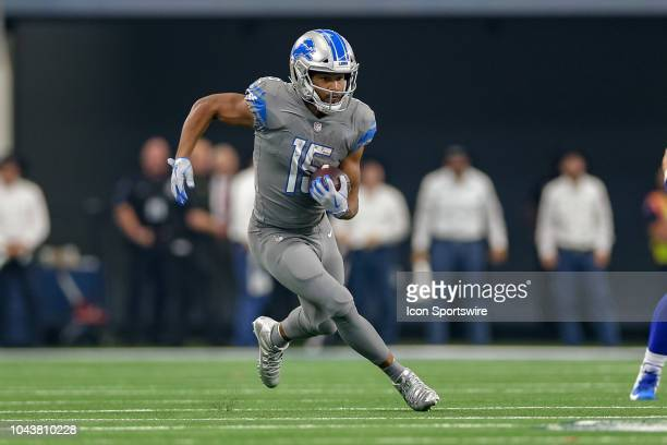 Detroit Lions wide receiver Golden Tate makes a long reception during the game between the Detroit Lions and Dallas Cowboys on September 30 2018 at...