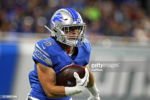 Detroit Lions wide receiver Jace Billingsley runs the ball during the second half of an NFL football game against the New York Giants in Detroit...