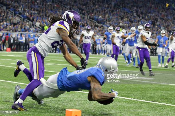 Detroit Lions wide receiver Kenny Golladay cannot catch a pass while being defended by Minnesota Vikings cornerback Trae Waynes during the first half...