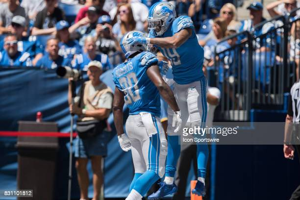 Detroit Lions wide receiver Kenny Golladay celebrates a touchdown with Detroit Lions tight end Michael Roberts during the NFL preseason game between...