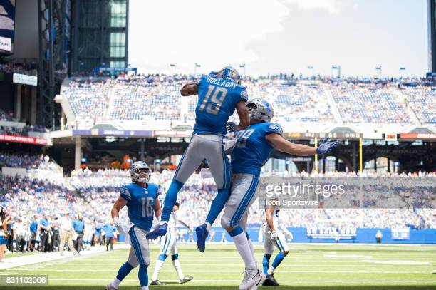 Detroit Lions wide receiver Kenny Golladay celebrates a touchdown during the NFL preseason game between the Detroit Lions and Indianapolis Colts on...