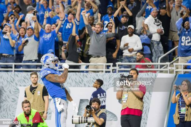 Detroit Lions wide receiver Kenny Golladay celebrates catching a pass in the end zone for a touchdown during game action between the Arizona...