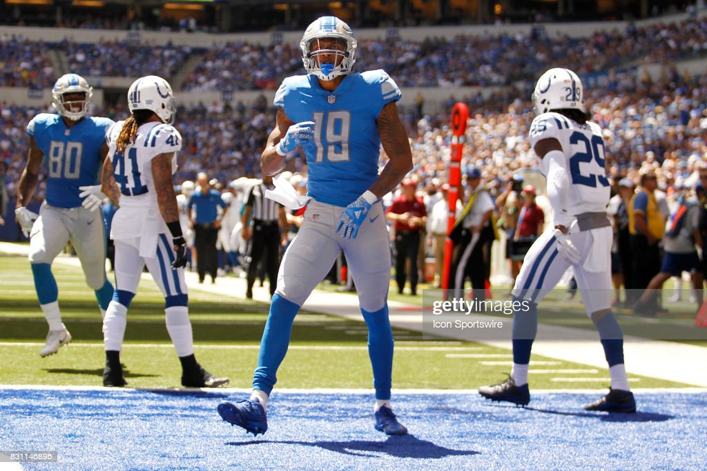 Detroit Lions wide receiver Kenny Golladay (19) celebrates his touchdown during the NFL preseason week 1 game between the Detroit Lions and the Indianapolis Colts on August 13, 2017, at Lucas Oil Stadium in Indianapolis, IN.