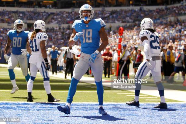 Detroit Lions wide receiver Kenny Golladay celebrates his touchdown during the NFL preseason week 1 game between the Detroit Lions and the...