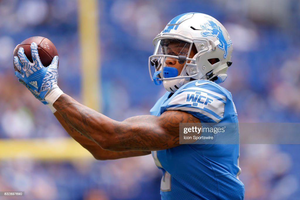 Detroit Lions wide receiver Kenny Golladay (19) makes a catch during warm ups at the NFL preseason week 1 game between the Detroit Lions and the Indianapolis Colts on August 13, 2017, at Lucas Oil Stadium in Indianapolis, IN.