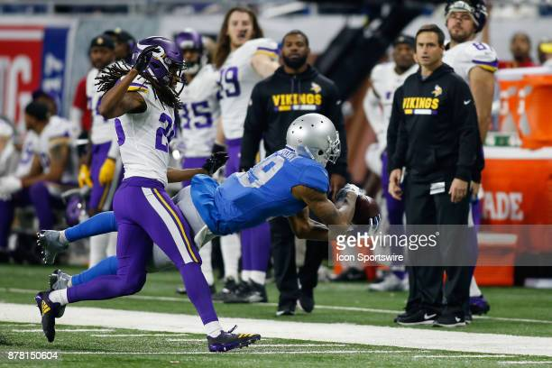 Detroit Lions wide receiver Kenny Golladay makes a diving catch during game action between the Minnesota Vikings and the Detroit Lions on November 23...