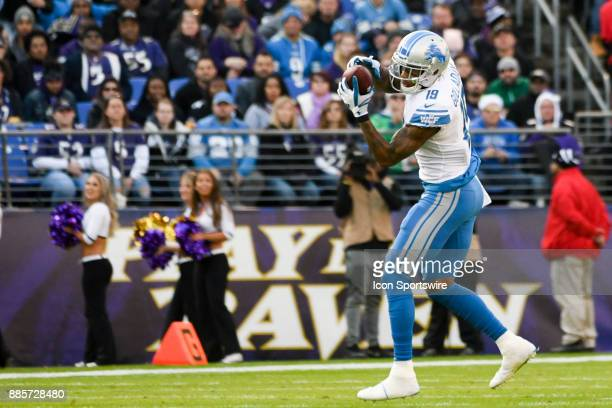 Detroit Lions wide receiver Kenny Golladay makes a second quarter pass reception against the Baltimore Ravens on December 3 at MT Bank Stadium in...