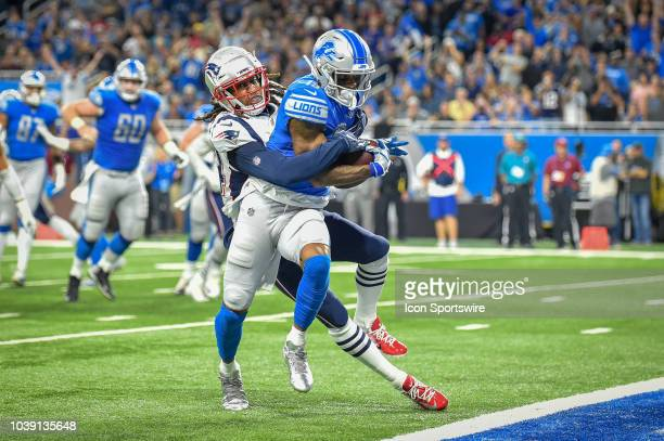 Detroit Lions wide receiver Kenny Golladay reaches the ball to the goal line for a touchdown during the Detroit Lions game versus the New England...