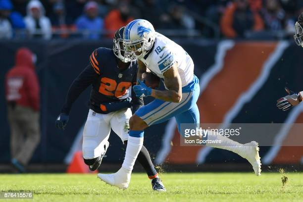 Detroit Lions wide receiver Kenny Golladay runs with the football past Chicago Bears cornerback Prince Amukamara during an NFL football game between...