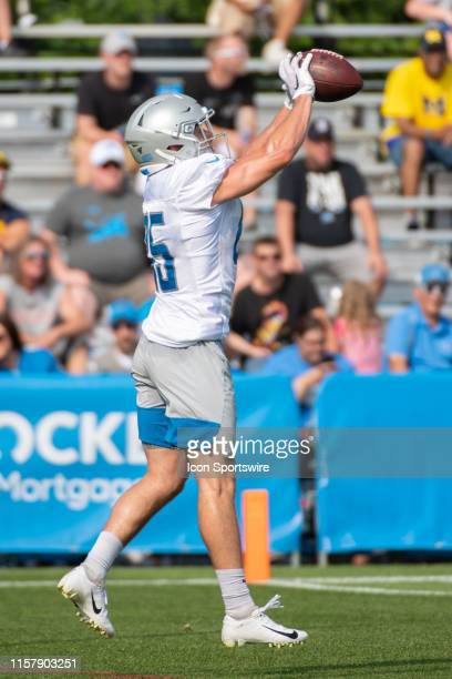 Detroit Lions WR Tom Kennedy catches a pass at Detroit Lions Training Camp on July 26, 2019 at Detroit Lions Training Facilities in Allen Park, MI