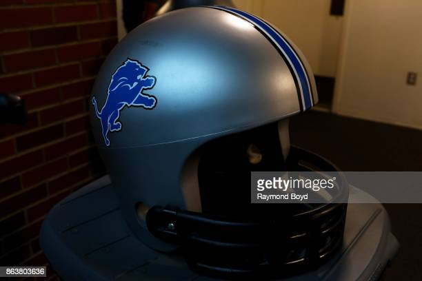 Detroit Lions-helmeted garbage cans at Ford Field, home of the Detroit Lions football team in Detroit, Michigan on October 12, 2017.
