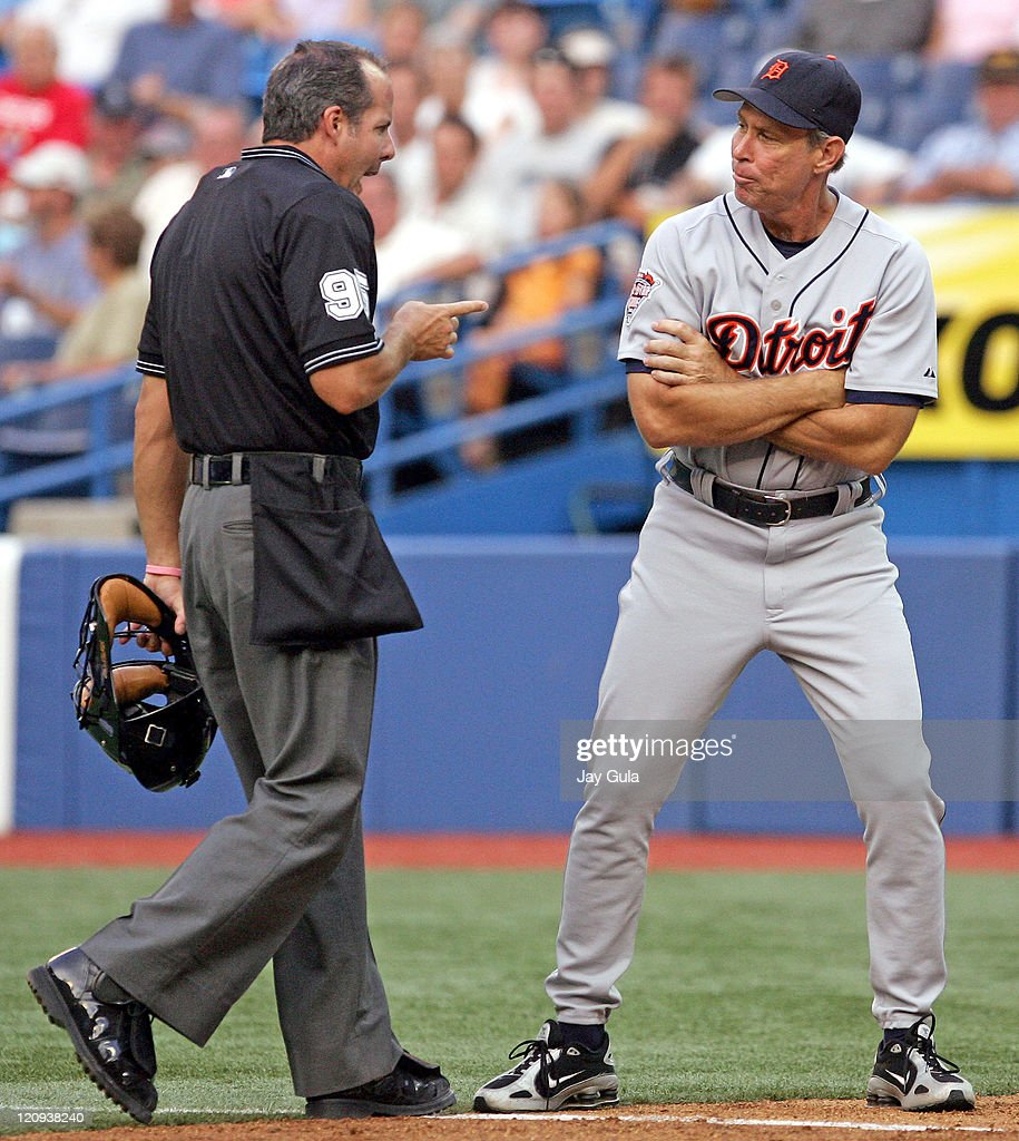 Detroit manager Alan Trammell argues a call with home plate umpire Tim Timmons tonight. Trammell was eventually tossed from the game at the Rogers Centre in Toronto, Canada on August 9, 2005.