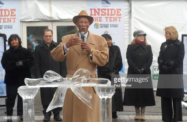 Detroit Mayor Dave Bing addresses reporters during an opening ceremony at Motown Winter Blast at Campus Martius Park on February 8 2013 in Detroit...