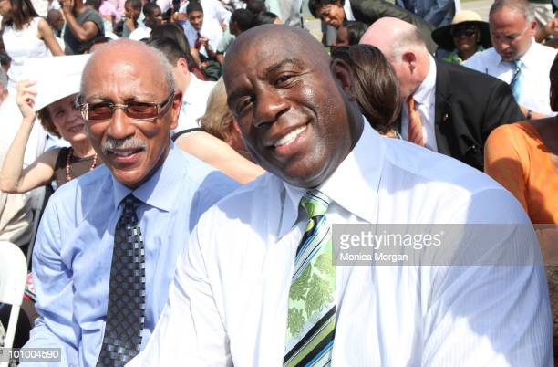 Detroit Mayor Dave Bing and Magic Johnson attend a student forum at Wayne State University on May 26 2010 in Detroit Michigan