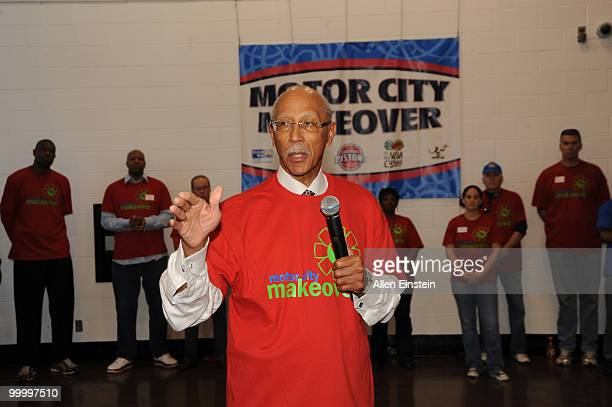 Detroit Mayor Dave Bing former Detroit Pistons Legend welcomes volunteers to begin the Leadership Detroit initiative during the 2010 Motor City...
