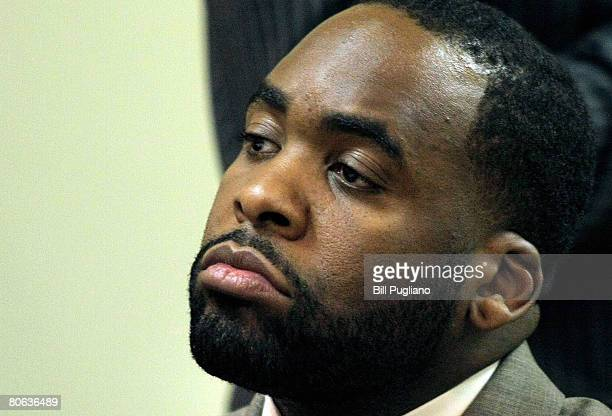 Detroit Mayor Kwame Kilpatrick attends a hearing in 36th District Court to determine his travel restrictions April 11 2008 in Detroit Michigan The...