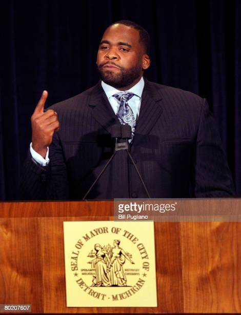 Detroit Mayor Kwame Kilpatrick gives his State of the City address March 11 2008 in Detroit Michigan Four members of the ninemember council declined...