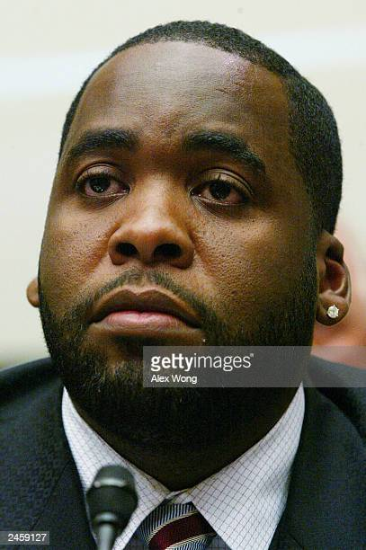 Detroit Mayor Kwame Kilpatrick listens during a hearing on the August 14 blackout before the House Energy and Commerce Committee On Capitol Hill...