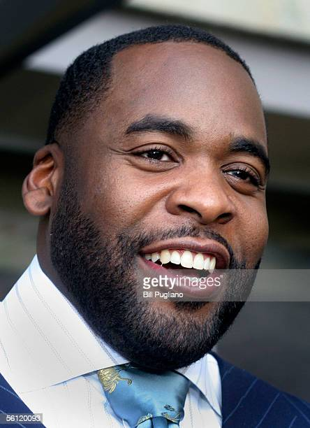 Detroit Mayor Kwame Kilpatrick talks with the media after casting his vote in Detroit's mayoral election November 8 2005 in Detroit Michigan The...