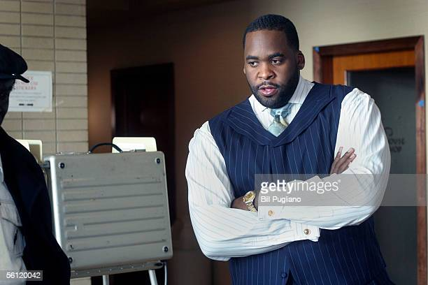 Detroit Mayor Kwame Kilpatrick waits at a polling booth to cast his vote in Detroit's mayoral election November 8 2005 in Detroit Michigan The mayor...