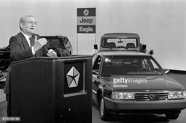 9/23/1987 Detroit MI Chrysler Chairman Lee Iacocca introduces the company's new products for 1988 at their styling dome 9/23 The Eagle Premier and...