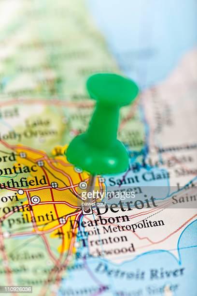 detroit, mi map - detroit michigan map stock pictures, royalty-free photos & images