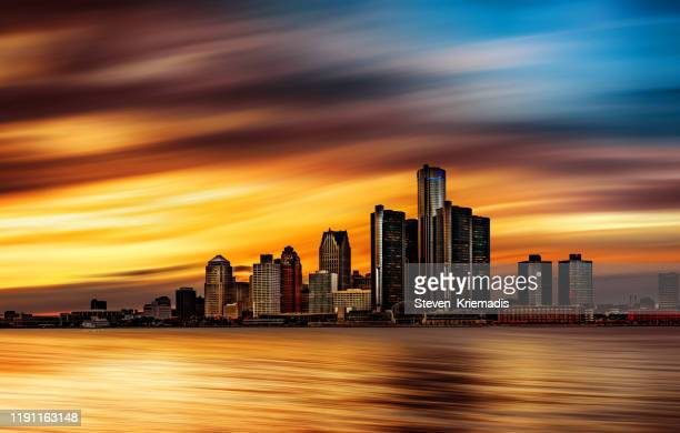 detroit, michigan - abstract skyline - detroit michigan stock pictures, royalty-free photos & images