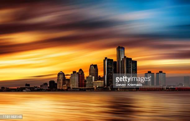デトロイト (ミシガン州) - アブストラクト スカイライン - デトロイト ストックフォトと画像
