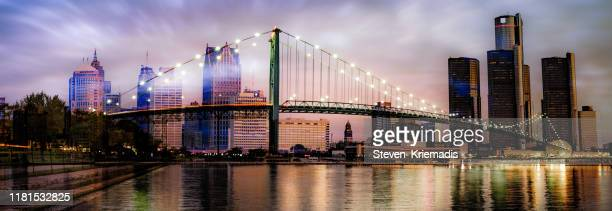 detroit, michigan - ambassador bridge - michigan stock pictures, royalty-free photos & images